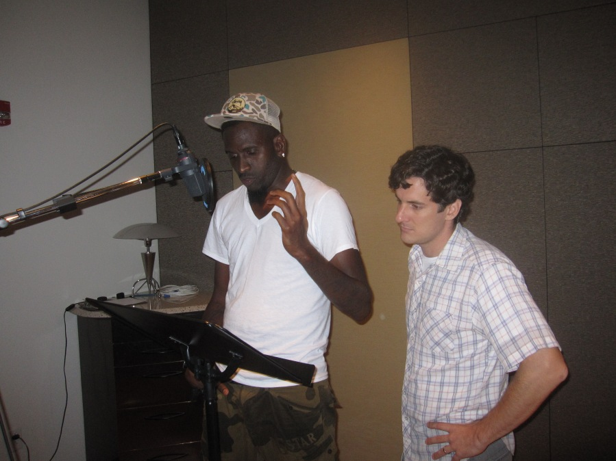 "Producer Chris Weaver works with Anwan Glover, Narrator of ""Hey Rookie."""