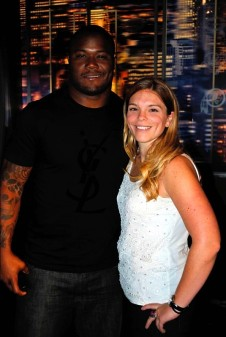 "Seattle Seahawks FB Michael Robinson and NFL Films Producer Shannon Furman during the filming of ""NFL Films Presents"": Michael Robinson."