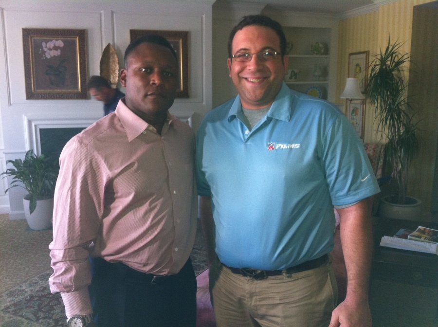 "Former RB Barry Sanders and NFL Films Producer Paul Monusky on the set of ""A Football Life."""