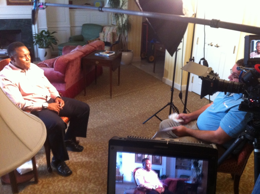 "Former RB Barry Sanders and NFL Films Producer Paul Monusky during the filming of ""A Football Life."""