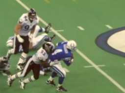 Ray Lewis's 1st NFL sack was on Jim Harbaugh. Here itis.