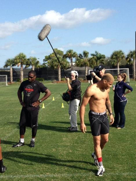 """NFL Films captures the workout of Patrick Peterson and Tyrann """"Honey Badger"""" Mathieu"""