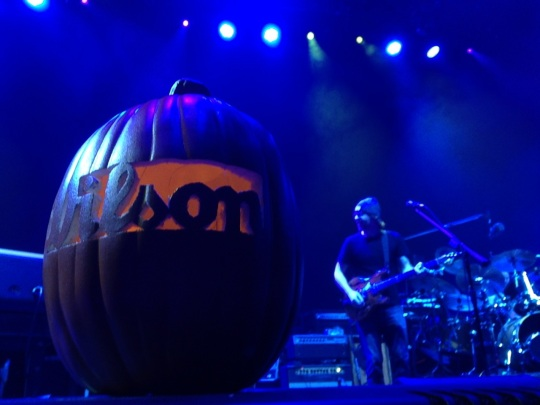 A custom WILSON pumpkin on the stage at Atlantic City's Boardwalk Hall during the 11/2/13 Phish show.