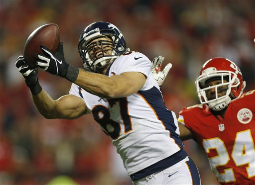Eric Decker put on a show with four touchdowns as the Broncos tightened their grip on the AFC West.