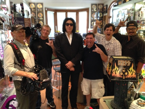 HOUSE OF DEMON - The Films crew with Gene Simmons of KISS, at his house in Los Angeles last weekend.  From left: Al Feurbach (recordist), Dave Sharples (cinematographer), Gene, Tom Brant (producer), Chris Weaver (director) and Hassan Abdul-Wahid (asst. camera).