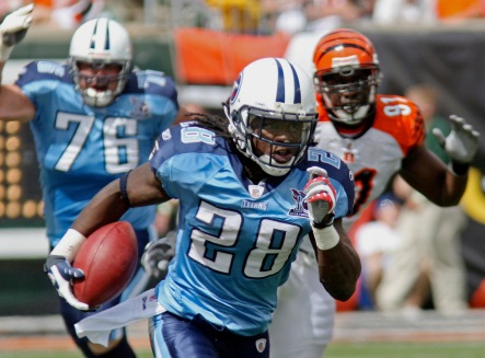 ** FILE ** In this Sept. 14, 2008 file photo, Tennessee Titans running back Chris Johnson (28) runs against the Cincinnati Bengals in the second quarter of an NFL football game in Cincinnati. Titans coach Jeff Fisher said there would be a way to split the carries between veteran LenDale White and rookie Chris Johnson. Through two games, the Titans couldn't divide the work more evenly. The rookie, however, has given this offense a much-needed boost. (AP Photo/Tom Uhlman, File)