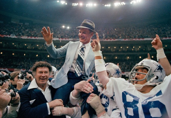Dallas Cowboys head coach Tom Landry rides on the shoulders of his players after the Cowboys defeated the Denver Broncos 27-10 in Super Bowl XII, Jan. 15, 1978, in New Orleans. Wide receiver Butch Johnson (86) had a 45-yard fingertip catch for one of the Cowboys three touchdowns, while eight turnovers sealed the Broncos fate. (AP Photo)