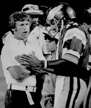 Philadelphia Eagles head coach Dick Vermeil has words with Eagles quarterback John Walton during game, Saturday, July 31, 1976 in San Diego against the San Diego Chargers. The Eagles lost to the Chargers 20-7. (AP Photo)