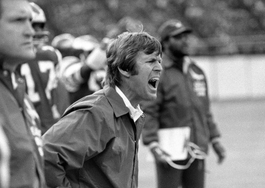 Philadelphia Eagles coach Dick Vermeil yells from the sidelines as his team played against the St. Louis Cardinals, Nov. 8, 1976, in Philadelphia. (AP Photo)
