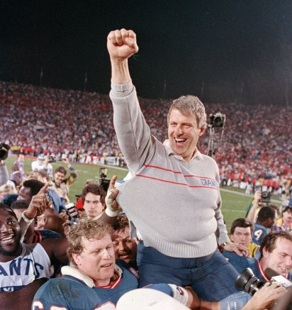 FILE - In this Jan. 25, 1987, file photo, New York Giants coach Bill Parcells is carried off the field after the Giants defeated the Denver Broncos, 39-20, in Super Bowl XXI in Pasadena, Ca. Parcells will enter the Pro Football Hall of Fame in Canton, Ohio, Sunday, Aug. 4, 2013. (AP Photo/Eric Risberg, File)