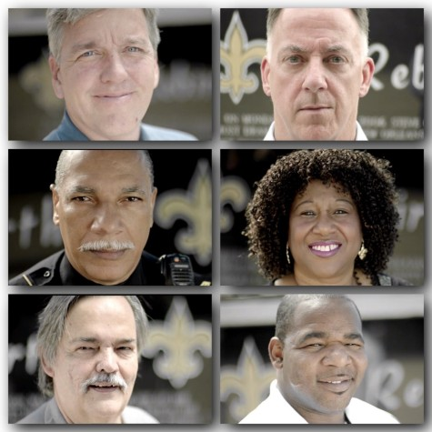 Top from left to right: Michael DeMocker, Photographer New Orleans Times, & Jeff Duncan, Columnist New Orleans Times Middle: SGT Mike Foster & Edwina Handsome, Former Superdome Usher Bottom: Nolan Ledoux, Superdome Engineer, & Shack Brown, Superdome Refugee