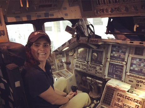 NFL Films Associate Producer Emily Leitner inside a mock shuttle